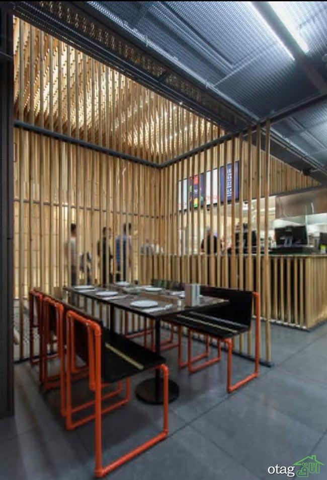 طراحی داخلی رستوران مدرن در تهران بهمراه پلان کامل
